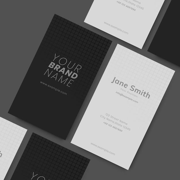 Cartes de visite en noir et blanc Vecteur gratuit