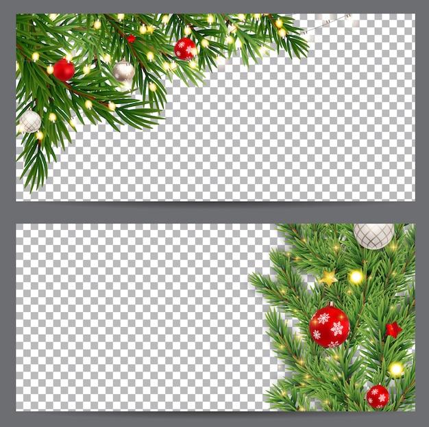 Cartes de visite de nouvel an et de noël, invitations, flyers sur un transparent. illustration Vecteur Premium
