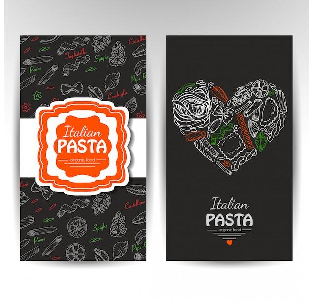 Cartes de visite avec des pâtes italiennes Vecteur Premium