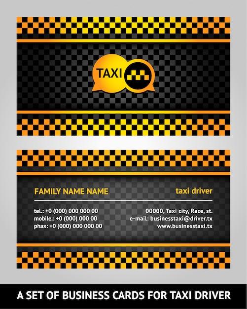 Cartes De Visite Taxi Vecteur Premium