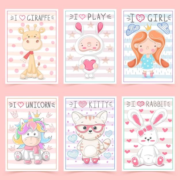 Cartes de voeux mignonnes pour les enfants avec des animaux Vecteur Premium
