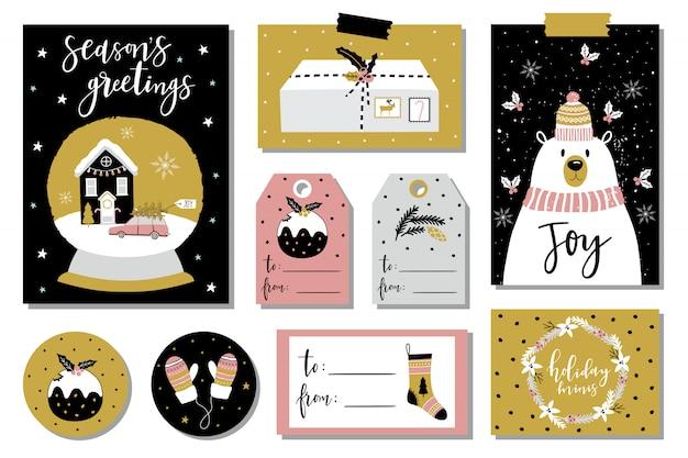 Cartes De Vœux De Noël Et étiquettes Cadeaux Vecteur Premium