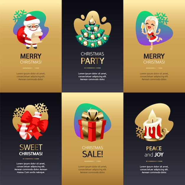 Cartes de voeux de noël serties d'or et de noir Vecteur Premium