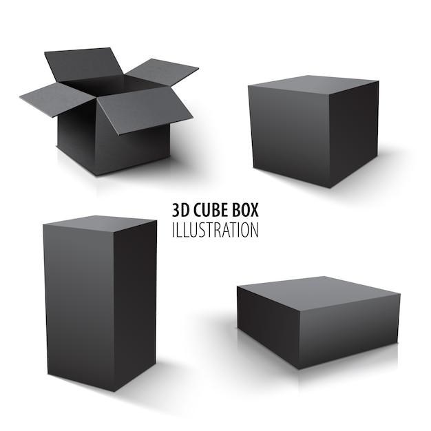 Carton d'emballage 3d boîte noire et ensemble de cube. ensemble de boîtes en carton ouvertes et cube. Vecteur Premium