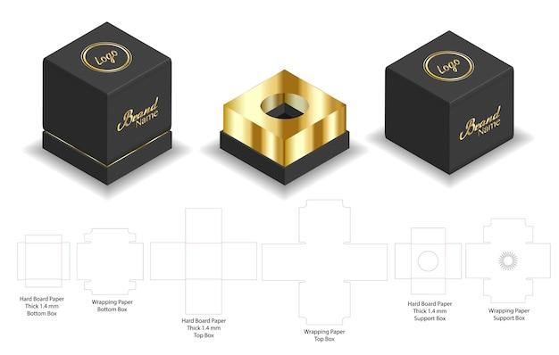 Carton rigide carton rigide 3d maquette avec dieline Vecteur Premium