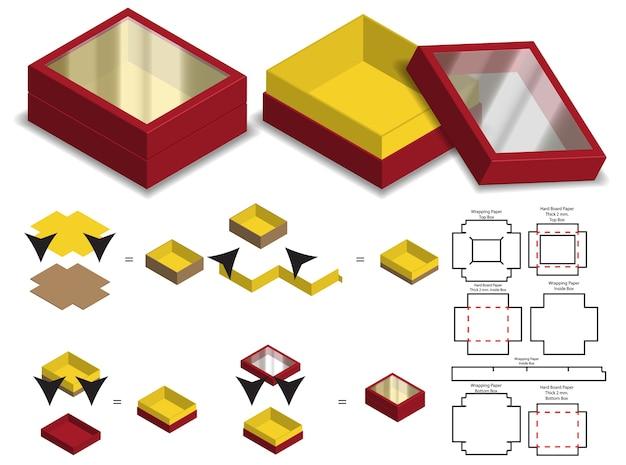 Carton Rigide Carton Rigide Maquette 3d Avec Dieline Vecteur Premium