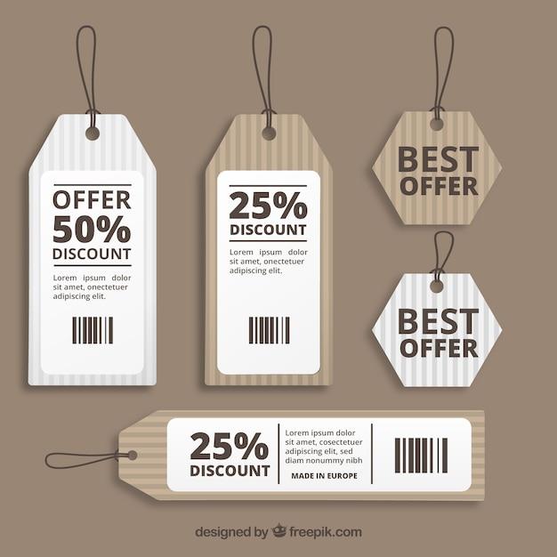 Carton Ventes étiquettes Vecteur gratuit