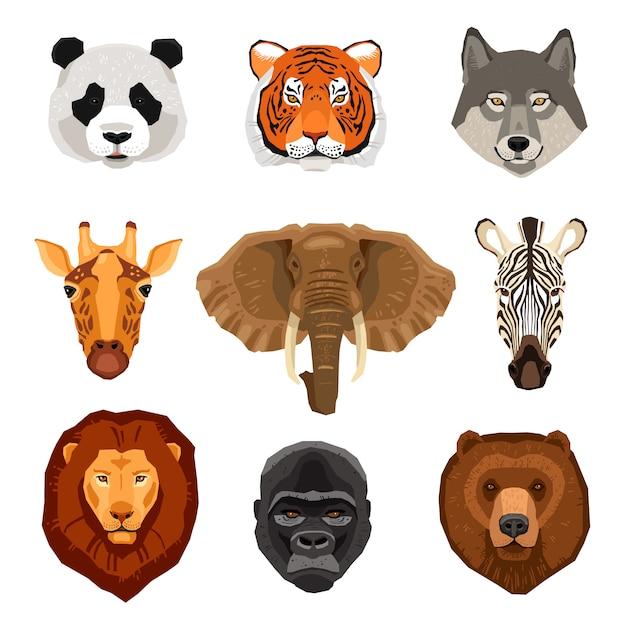 Cartoon Animals Portraits Set Vecteur gratuit