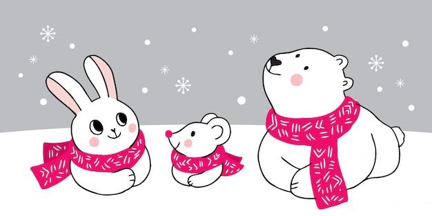 Cartoon animaux mignons hiver Vecteur Premium