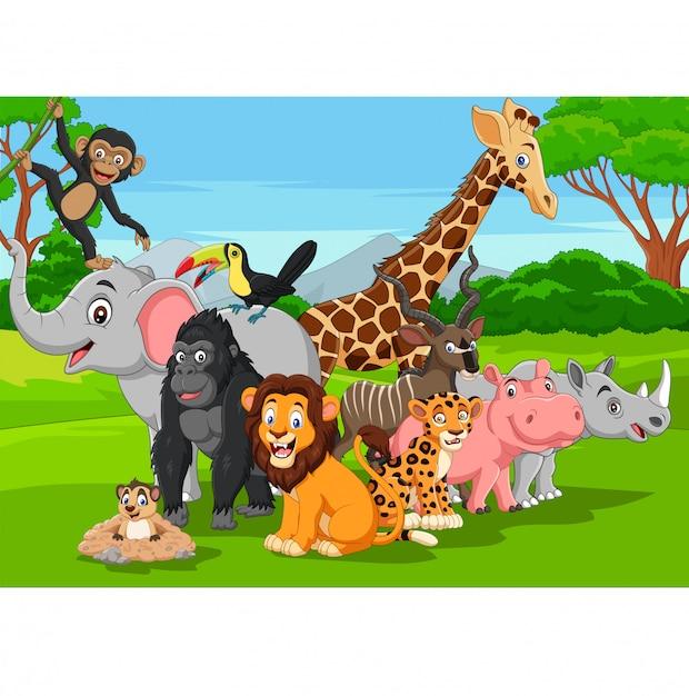 Cartoon animaux sauvages dans la jungle Vecteur Premium