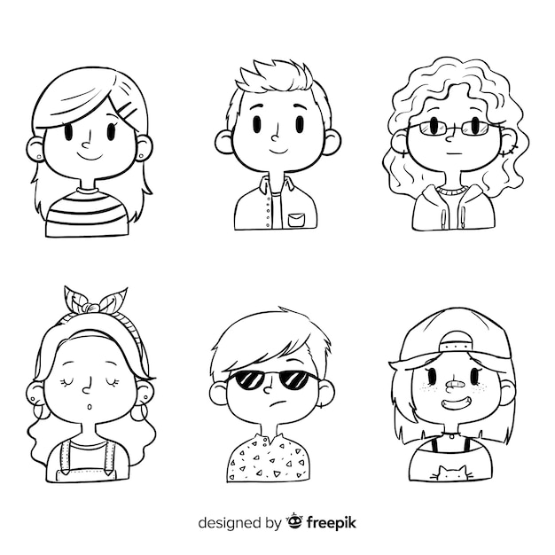 Cartoon Avatar People Pack Vecteur gratuit