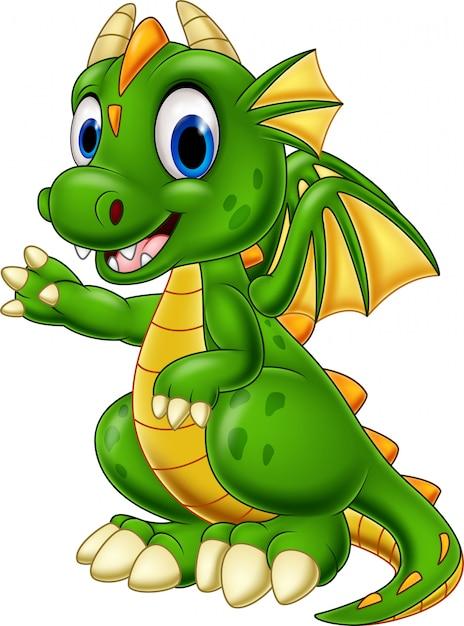 Cartoon bébé dragon présentant Vecteur Premium