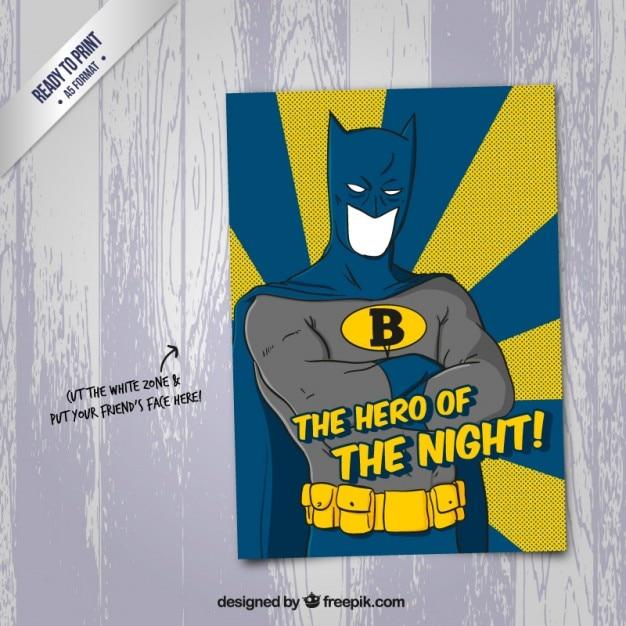 Cartoon carte de super-héros dans le style drôle Vecteur Premium