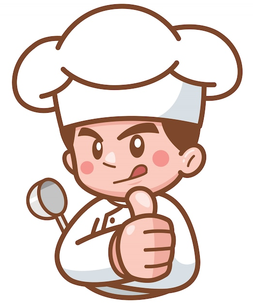 Cartoon Chef Show Ok Vecteur Premium