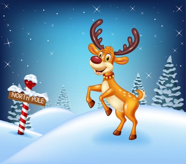 Cartoon christmas background avec des cerfs heureux Vecteur Premium