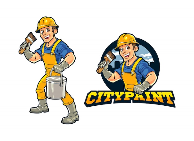 Cartoon Construction Worker City Wall Painter Caractère Mascot Logo Vecteur Premium