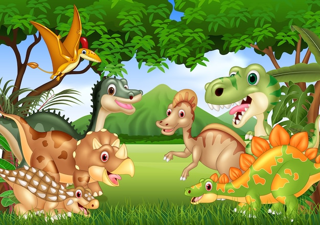 Cartoon dinosaures heureux vivant dans la jungle Vecteur Premium
