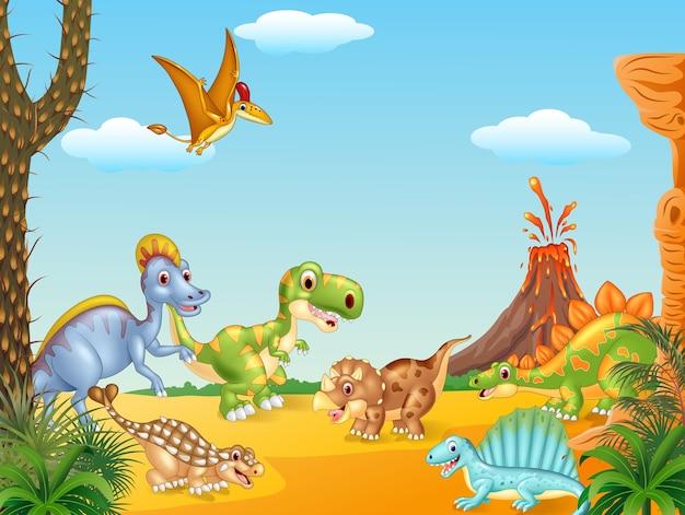 Cartoon dinosaures heureux avec volcan Vecteur Premium