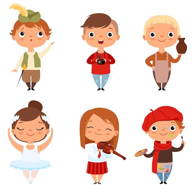 Cartoon Enfants Garçons Et Filles De Différentes Professions Créatives Vecteur Premium