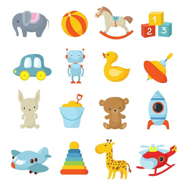 Cartoon enfants jouets collection d'icônes vectorielles Vecteur Premium