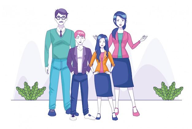 Cartoon Famille Heureuse Avec Adolescent Fille Et Garçon Debout Vecteur Premium