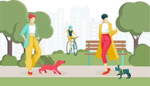 Cartoon Femmes élégantes Promener Le Chien Dans Un Parc Public Vecteur Premium