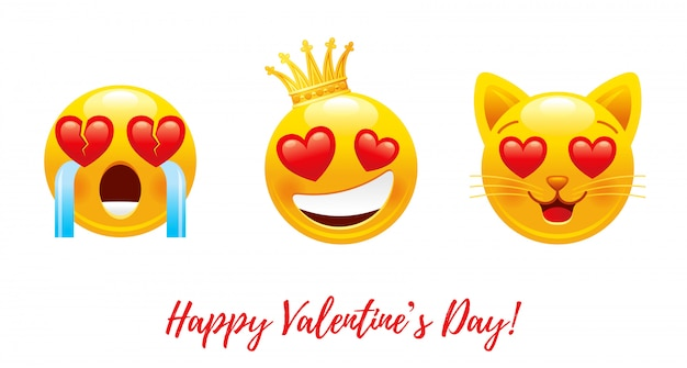 Cartoon Happy Valentine's Day Avec Coeur Amour Emoji. Vecteur Premium