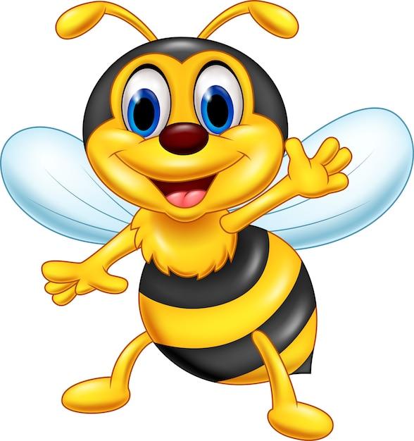Cartoon heureux abeille agitant Vecteur Premium