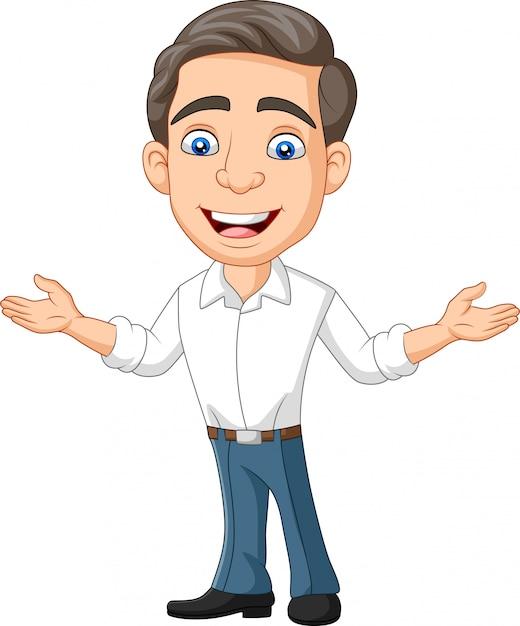 Cartoon heureux jeune homme d'affaires et présentant Vecteur Premium