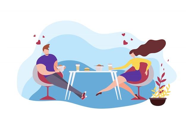 Cartoon homme et femme mangeant des plats asiatiques Vecteur Premium