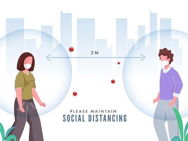 Cartoon Homme Et Femme Portant Un Masque De Protection Avec Maintenir La Distance Sociale Pour Prévenir Les Attaques De Coronavirus. Vecteur Premium