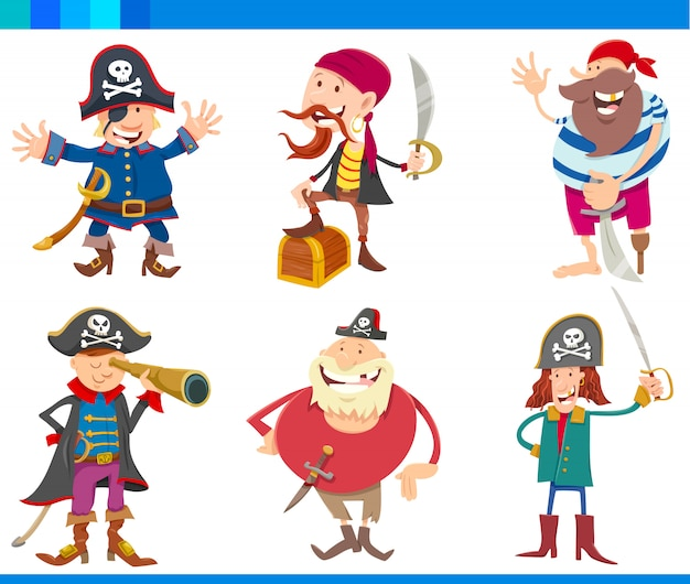 Cartoon illustrations of pirates characters set Vecteur Premium