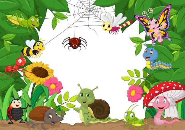 Cartoon joyeux petits animaux Vecteur Premium