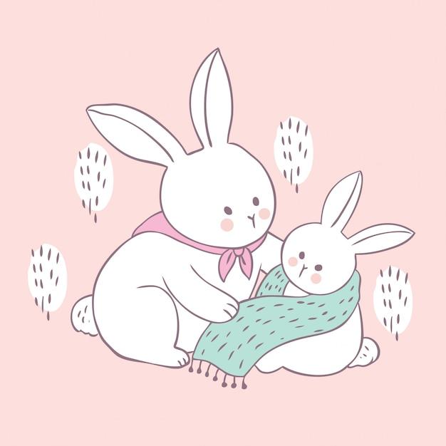 Cartoon maman lapin mignon et vecteur de bébé. Vecteur Premium