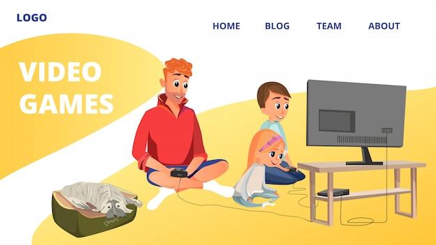 Cartoon man boy girl jouer à des jeux vidéo s'asseoir sur le sol Vecteur Premium