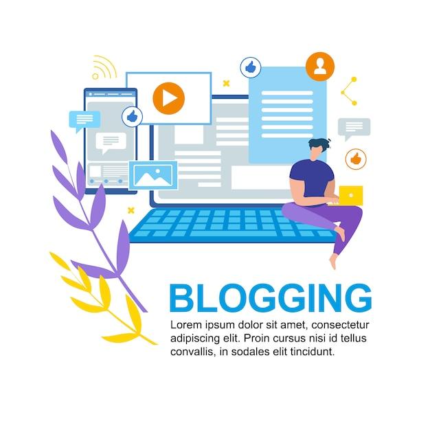 Cartoon man write notebook blogging médias sociaux Vecteur Premium