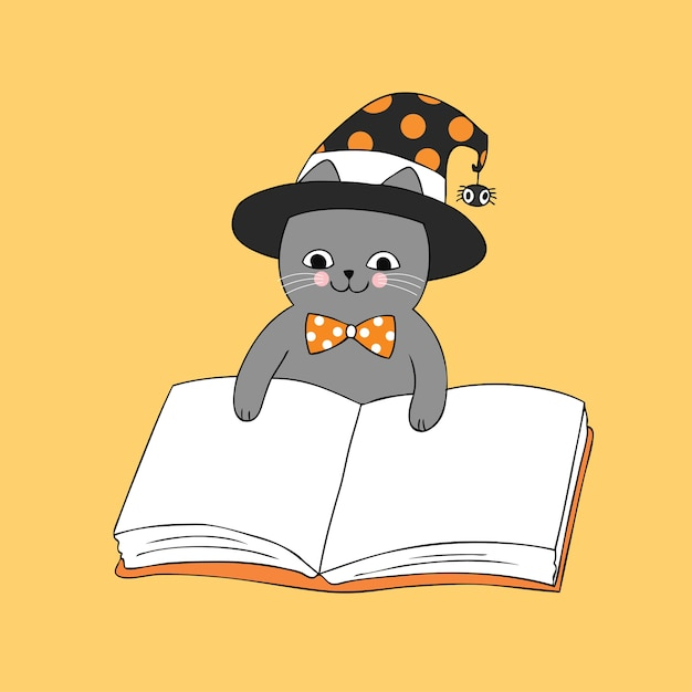 Cartoon Mignon Halloween Sorciere Chat Lecture Livre