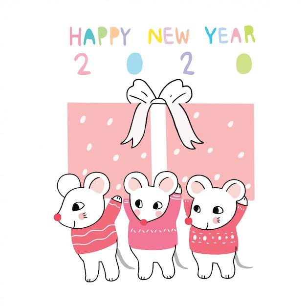Cartoon mignonne souris et cadeau boîte de nouvel an Vecteur Premium
