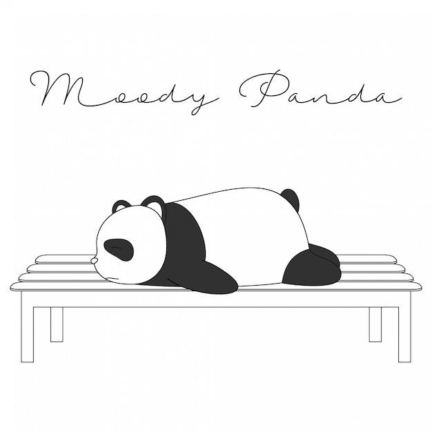 Cartoon moody panda - animaux mignons dessinés à la main Vecteur Premium