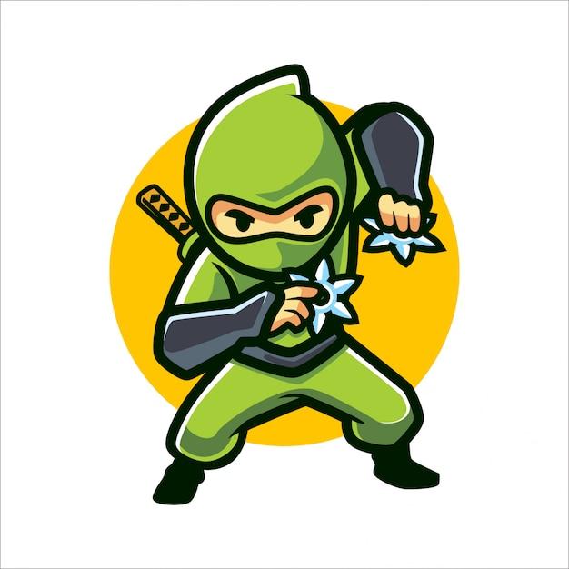 Cartoon Ninja Shuriken Vecteur Premium