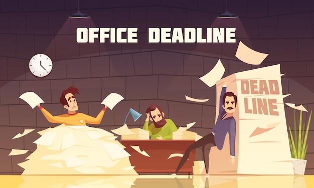 Cartoon paperline deadline cartoon Vecteur gratuit