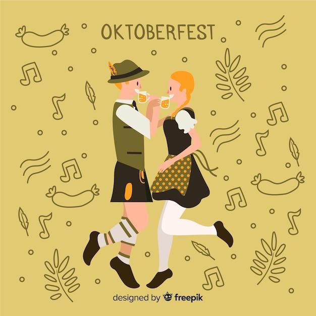 Cartoon people célébrant l'oktoberfest Vecteur gratuit
