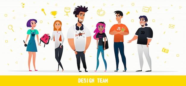 Cartoon people design team caractères style plat Vecteur Premium
