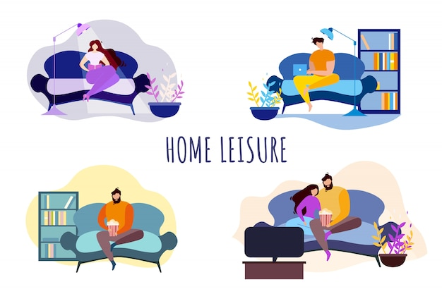 Cartoon people home loisirs soirées divertissements Vecteur Premium