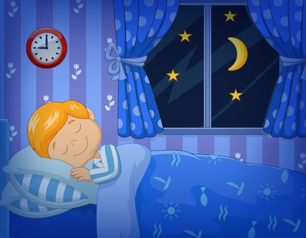 Cartoon petit garçon dort dans le lit Vecteur Premium