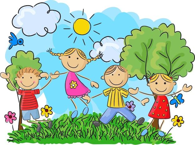 Cartoon petits enfants sautant et dansant ensemble Vecteur Premium