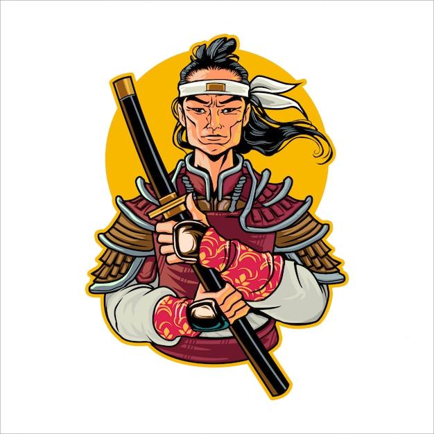 Cartoon Rise Samurai Vecteur Premium