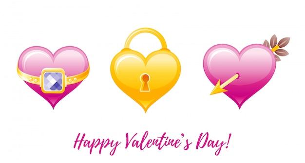 Cartoon Salutations De La Saint-valentin Heureuse Avec Des Icônes De La Saint-valentin - Coeur Avec Anneau, Serrure, Coeur Avec Flèche. Vecteur Premium