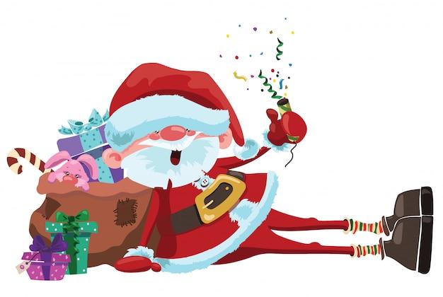 Cartoon Santa Claus Est Assis Avec Un Sac De Cadeaux. Illustration De Noël. Vecteur Premium