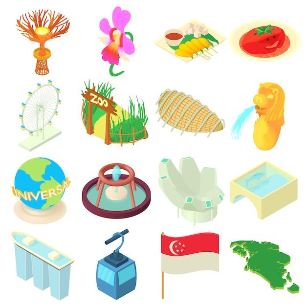 Cartoon singapore icons set Vecteur Premium